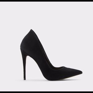ALDO Cassedy Black Leather Nubuck Heels